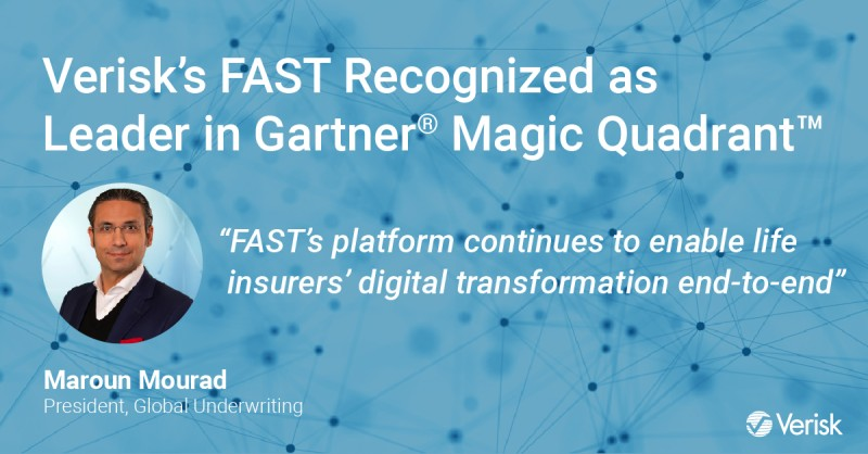 Verisk's FAST Recognized as a Leader in 2021 Gartner® Magic Quadrant™ for Fourth Consecutive Year